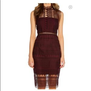 Bardot Mariana Lace Bodycon Dress Burgundy Sz 4 XS
